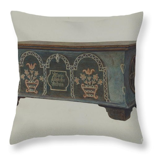 Throw Pillow featuring the drawing Pa. German Chest by Carl Strehlau