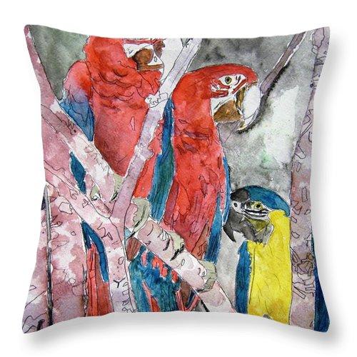 Bird Throw Pillow featuring the painting 3 Parrots by Derek Mccrea