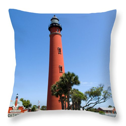 Ponce; De; Leon; Lighthouse; Light; House; Beacon; Navigation; Aid; Lens; Fresnel; Mosquito; Florida Throw Pillow featuring the photograph Ponce De Leon Inlet Lighthouse by Allan Hughes
