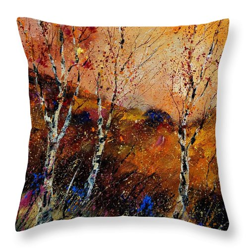River Throw Pillow featuring the painting 3 Poplars by Pol Ledent