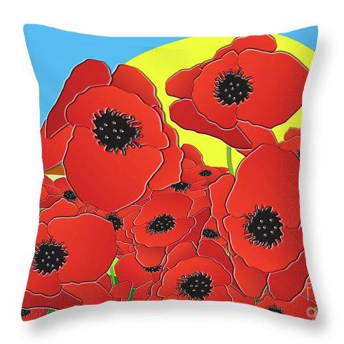 Poppy Throw Pillow featuring the digital art Poppy Field by Neil Finnemore