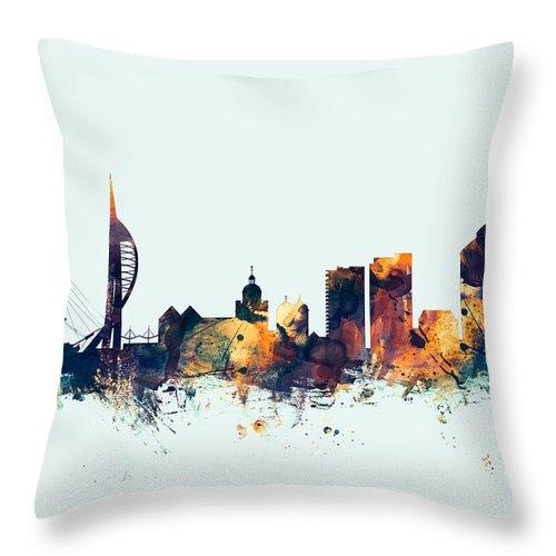 City Throw Pillow featuring the digital art Portsmouth England Skyline by Michael Tompsett