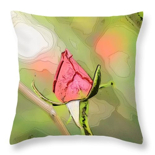 Water Throw Pillow featuring the photograph Red Garden Rose Bud by Humorous Quotes