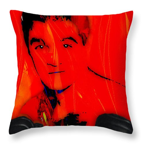 Rocky Marciano Throw Pillow featuring the mixed media Rocky Marciano Collection by Marvin Blaine
