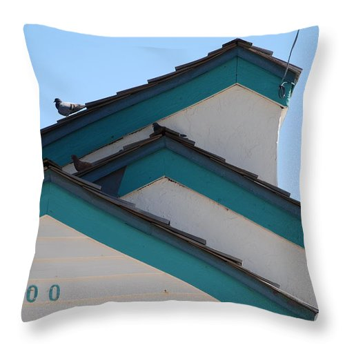 Birds Throw Pillow featuring the photograph 3 Roofs by Rob Hans