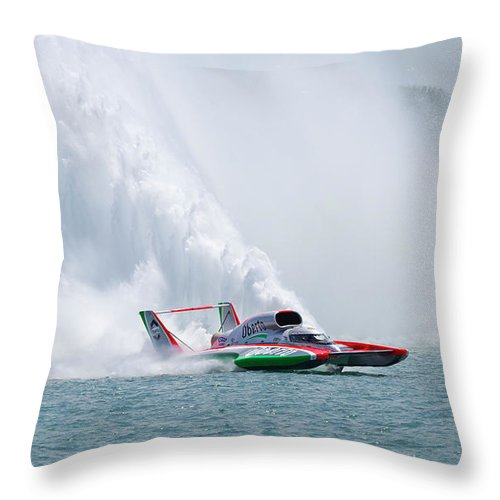 Annual Event Throw Pillow featuring the photograph Roostertail From Racing Hydroplanes Boats On The Detroit River For Gold Cup by Bruce Beck