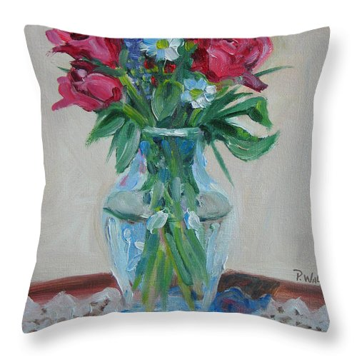 Roses Throw Pillow featuring the painting 3 Roses by Paul Walsh