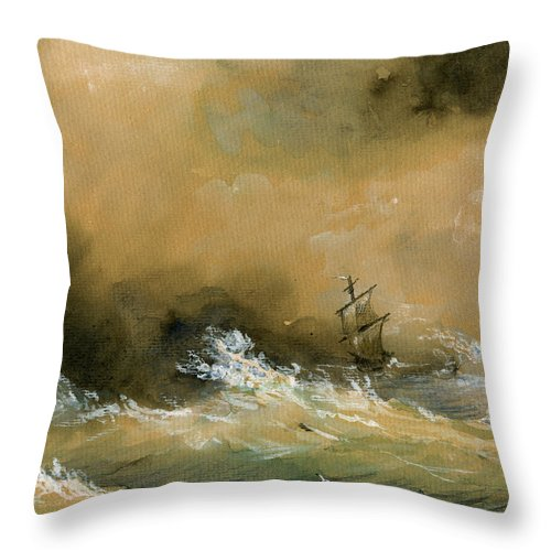 Sail Ship Watercolor Throw Pillow featuring the painting Sail Ship Watercolor by Juan Bosco