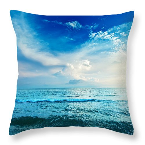 Background Throw Pillow featuring the photograph Sea by MotHaiBaPhoto Prints