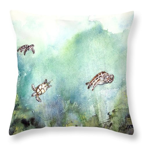 Turtle Throw Pillow featuring the painting 3 Sea Turtles by Derek Mccrea