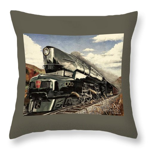 Pennsylvania Railroad Throw Pillow featuring the painting Showin Off by David Mittner