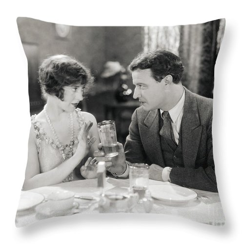 -drinking- Throw Pillow featuring the photograph Silent Film Still: Drinking by Granger