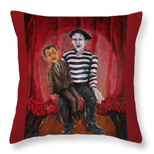 Ventriloquist Throw Pillow featuring the painting Silent Partners by Dennis Tawes