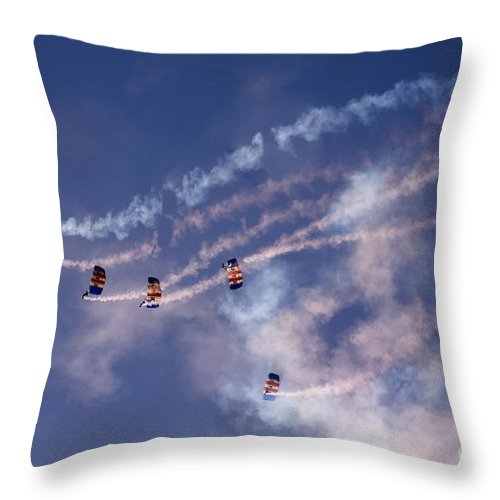 Raf Falcons Throw Pillow featuring the photograph Sky Surfing by Angel Ciesniarska