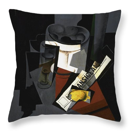 Still Throw Pillow featuring the painting Still Life With Newspaper by Juan Gris