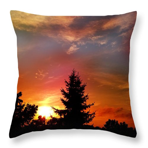 Sunset Throw Pillow featuring the photograph Sunset by Flavien Gillet