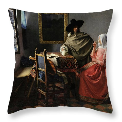 The Glass Of Wine Throw Pillow featuring the painting The Glass Of Wine by Johannes Vermeer