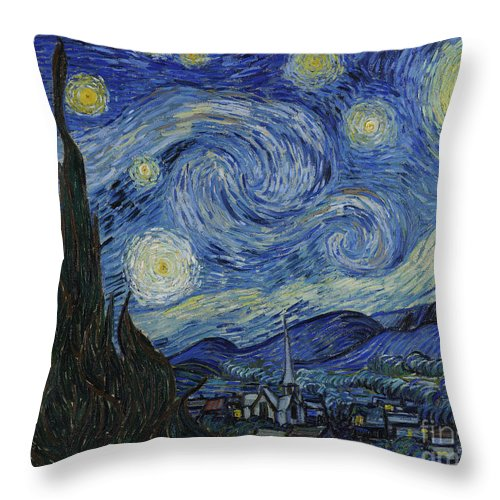 Vincent Throw Pillow featuring the painting The Starry Night by Vincent Van Gogh
