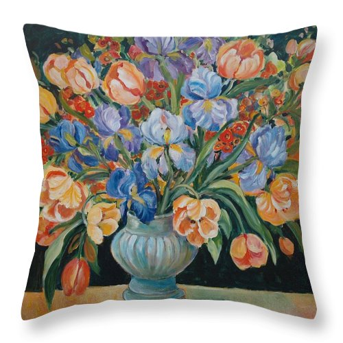 Still Life Throw Pillow featuring the painting Tulips by Alexandra Maria Ethlyn Cheshire
