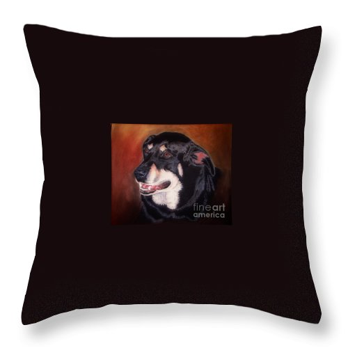 Dog Portrait Throw Pillow featuring the pastel Untitled by John Huntsman