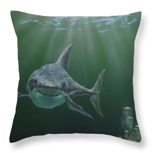 Shark Throw Pillow featuring the painting Untitled 3 by Philip Fleischer