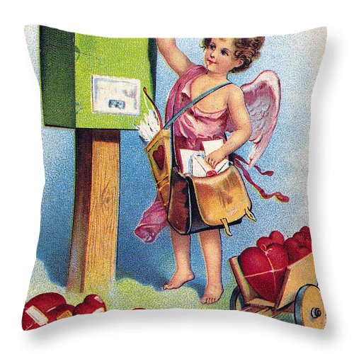 1909 Throw Pillow featuring the photograph Valentines Day Card by Granger