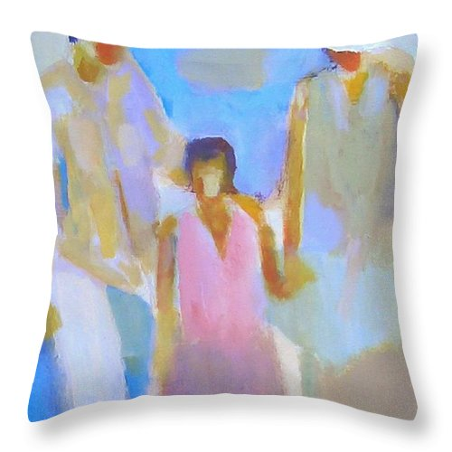 Abstract Throw Pillow featuring the painting 3 With Love by Habib Ayat