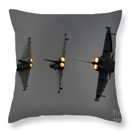 Eurofighter Typhoon Throw Pillow featuring the photograph 3 X Eurofighter Typhoon by Angel Ciesniarska
