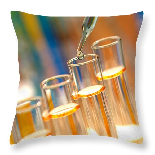 Chemical Throw Pillow featuring the photograph Scientific Experiment In Science Research Lab by Olivier Le Queinec