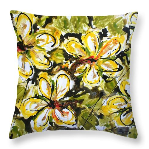 Flowers Throw Pillow featuring the painting Divine Blooms by Baljit Chadha