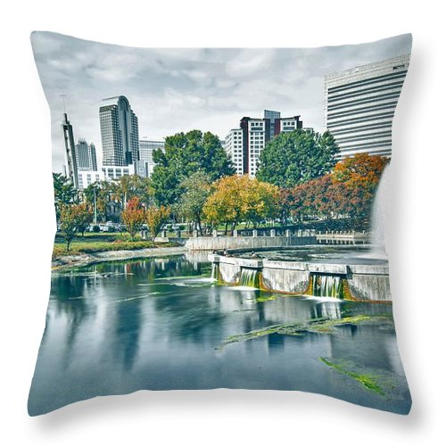 Park Throw Pillow featuring the photograph Charlotte North Carolina Cityscape During Autumn Season by Alex Grichenko