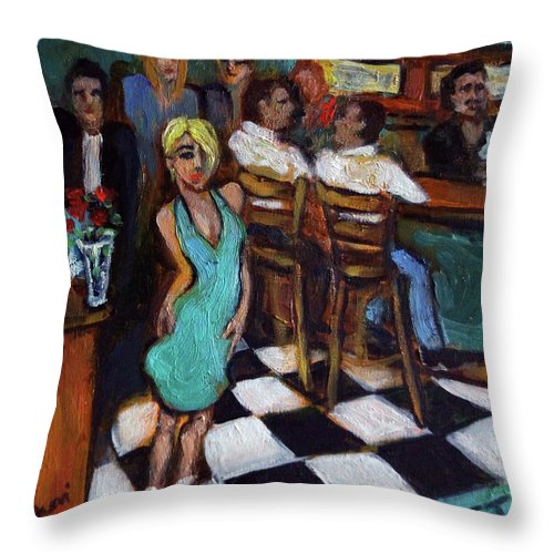 Restaurant Throw Pillow featuring the painting 32 East by Valerie Vescovi