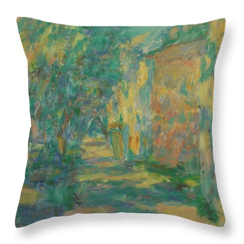 Street Throw Pillow featuring the painting Landscape by Robert Nizamov