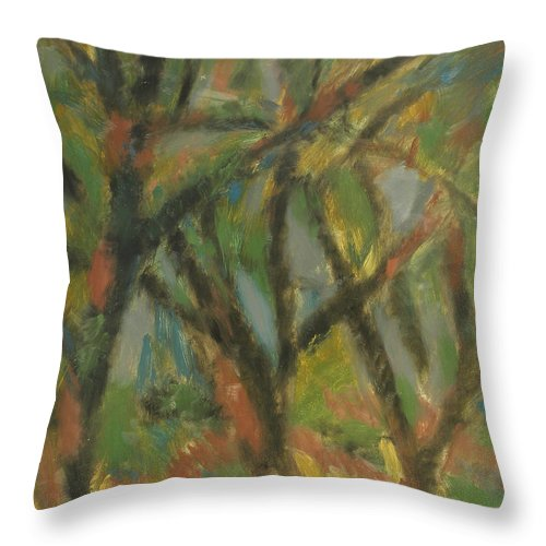 Sun Throw Pillow featuring the painting Trees by Robert Nizamov