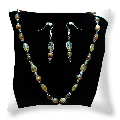 Jewelry Throw Pillow featuring the jewelry 3509 Amber Striped Onyx Set by Teresa Mucha