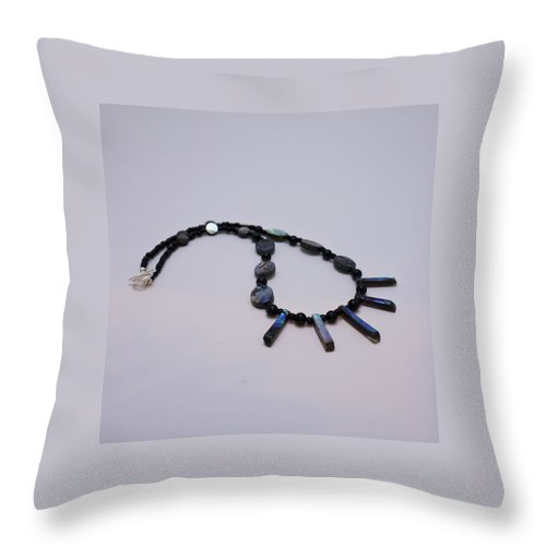 Jewelry Throw Pillow featuring the jewelry 3513 Abalone Shell Necklace by Teresa Mucha