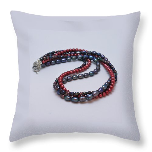 Jewelry Throw Pillow featuring the jewelry 3540 Triple Strand Freshwater Pearl Necklace by Teresa Mucha
