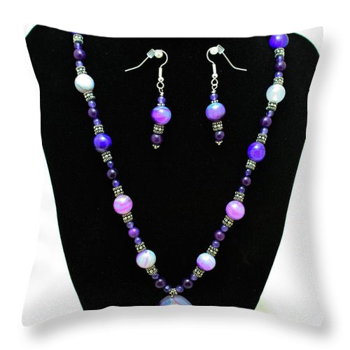 Jewelry Throw Pillow featuring the jewelry 3547 Purple Veined Agate Set by Teresa Mucha