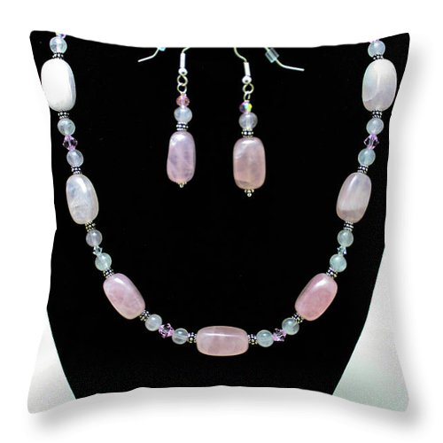Jewelry Throw Pillow featuring the jewelry 3558 Rose Quartz Set by Teresa Mucha