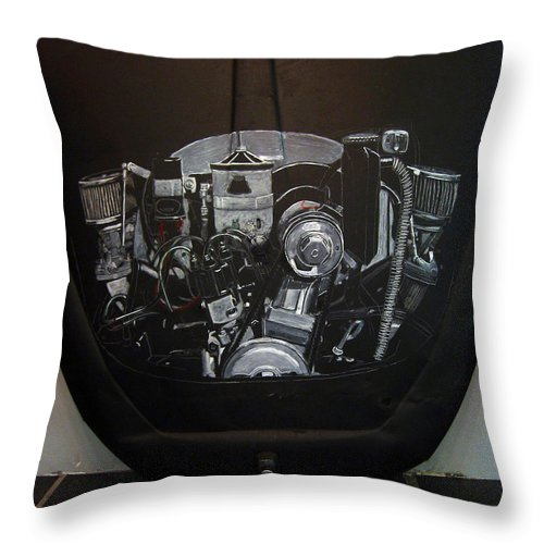 Vw Throw Pillow featuring the painting 356 Porsche Engine On A Vw Cover by Richard Le Page