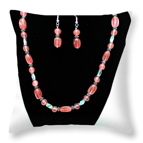 Jewelry Throw Pillow featuring the jewelry 3570 Cherry Quartz Czech Glass Set by Teresa Mucha