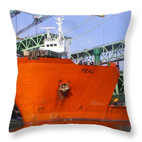 Tacoma Throw Pillow featuring the photograph The New Tacoma Narrows Bridge by Alan Espasandin