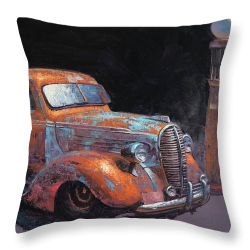 Vintage Cars Throw Pillow featuring the painting 38 Fat Fender Ford by Cody DeLong