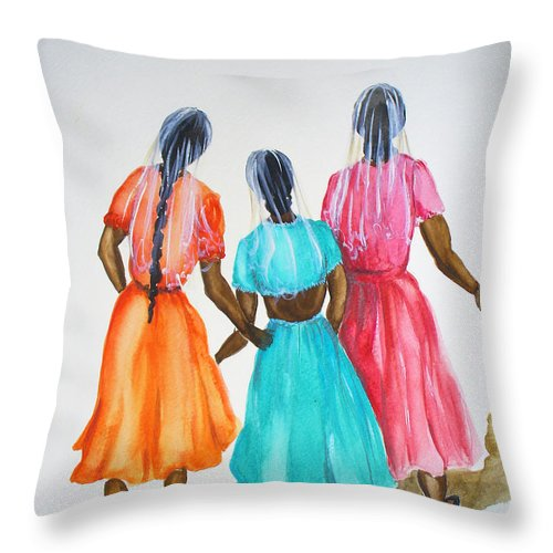 Three Ladies East Indian Throw Pillow featuring the painting 3bff by Karin Dawn Kelshall- Best