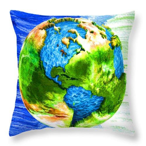3d Render Of Planet Earth Throw Pillow featuring the digital art 3d Render Of Planet Earth 11 by Jeelan Clark