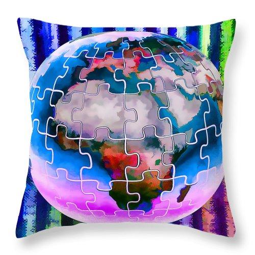 3d Render Of Planet Earth Throw Pillow featuring the digital art 3d Render Of Planet Earth 12 by Jeelan Clark
