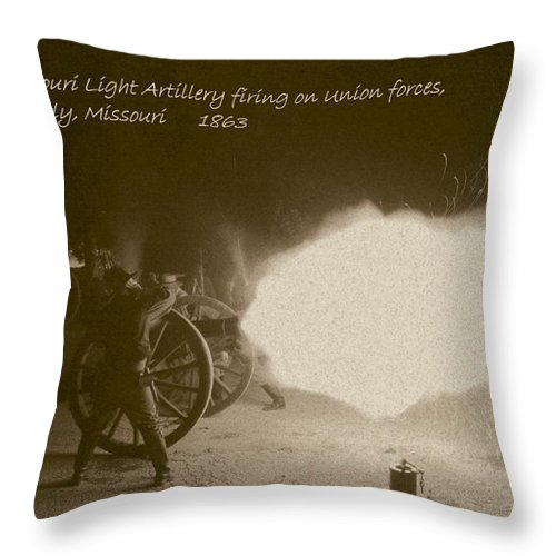 Sepia Throw Pillow featuring the photograph 3rd Missouri Night Fire by David Dunham