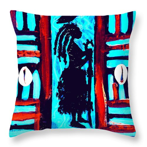 Maliksart Throw Pillow featuring the mixed media 4ward Afrika by Malik Seneferu