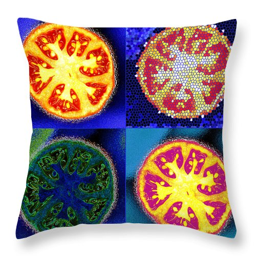 Tomatoes Throw Pillow featuring the photograph 4 Abstract Tomatoes by Nancy Mueller