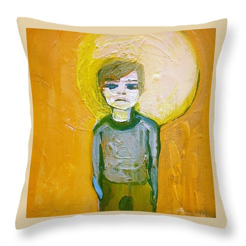 Boy Throw Pillow featuring the painting Adar by Laurel Gallagher
